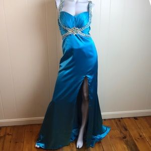 Tony Bowls Blue Beaded Prom Formal Bridesmaid Gown
